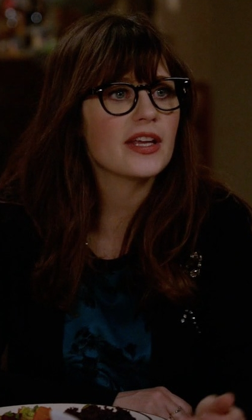Zooey Deschanel with Kate Spade New York Embellished Brooch Cardigan in New Girl