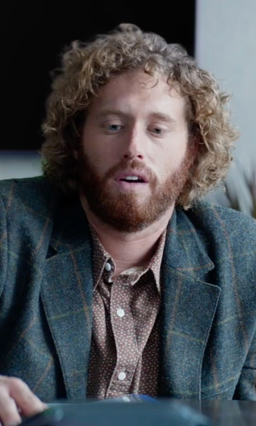 T.J. Miller with Ermenegildo Zegna Trofeo Plaid Two-Button Jacket in Office Christmas Party