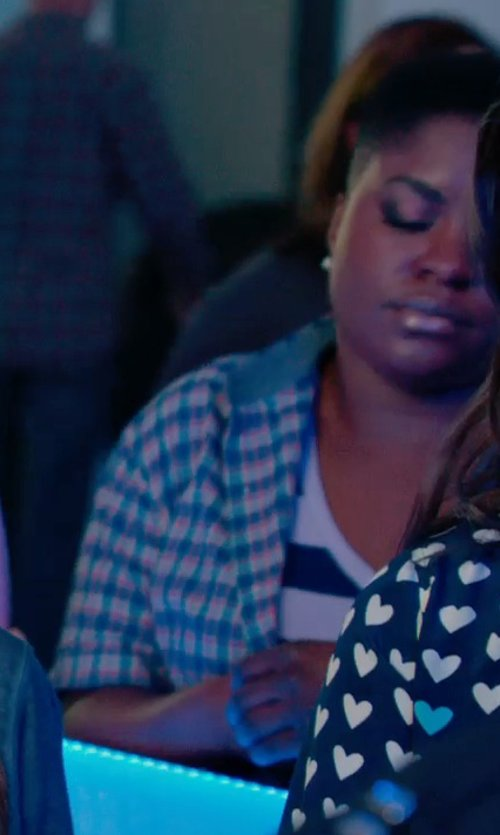 Ester Dean with Adidas Hiking Check Short Sleeve Shirt in Pitch Perfect 2