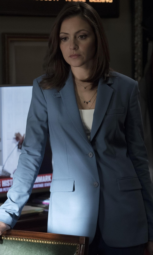 Italia Ricci with Theory Wylla Wool Blazer in Designated Survivor