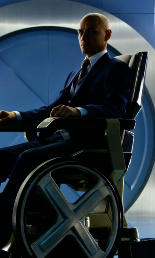James McAvoy with Tallia Herringbone Slim-Fit Suit in X-Men: Apocalypse