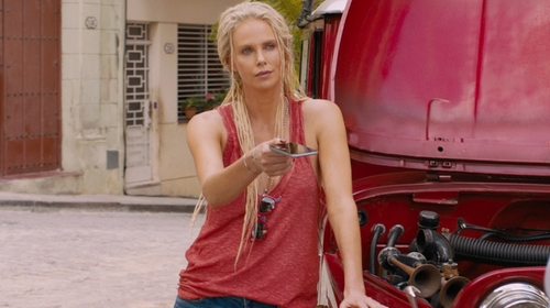 Charlize Theron with Chaser Everyday Shirttail Tank in The Fate of the Furious