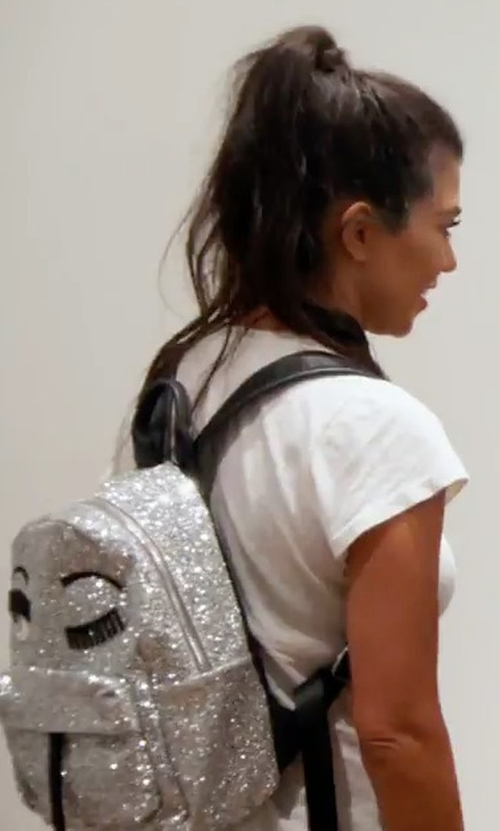 Kourtney Kardashian with Chiara Ferragni Flirting Glitter Mini Backpack in Keeping Up With The Kardashians
