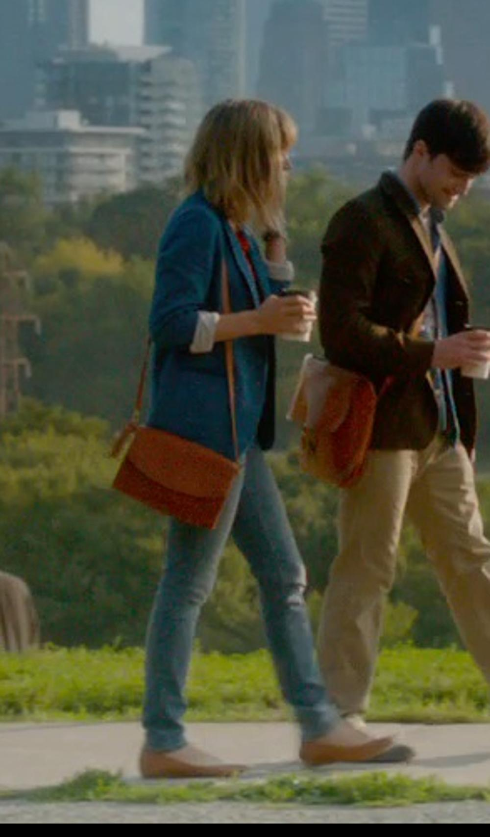 Zoe Kazan with Hudson Beth Mid Rise Baby Bootcut Jeans in What If