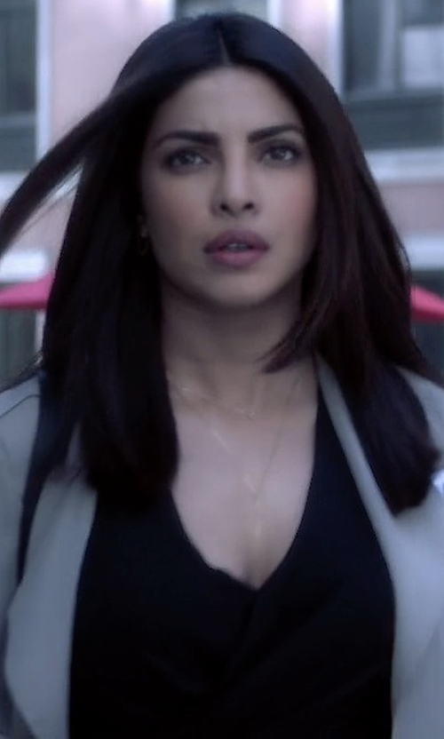 Priyanka Chopra with L'Agence Gia Long-Sleeve Silk Wrap Blouse in Quantico