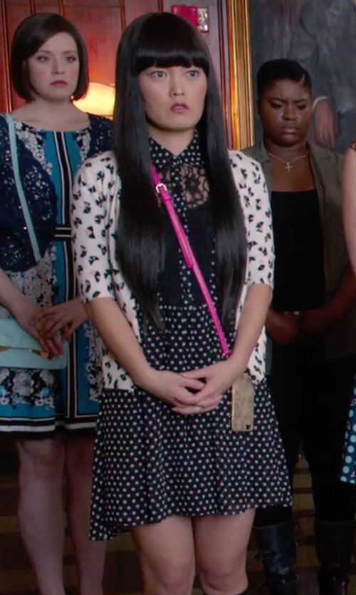 Hana Mae Lee with Kiss Gold Cellphone Pouch Bag in Pitch Perfect 2