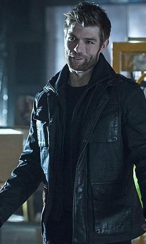 Liam McIntyre with Calvin Klein Faux-Leather Four-Pocket Jacket in The Flash