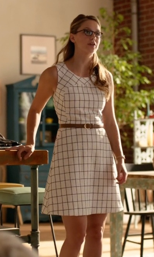 Melissa Benoist with J. Crew Windowpane Tweed Sleeveless A-Line Dress in Supergirl
