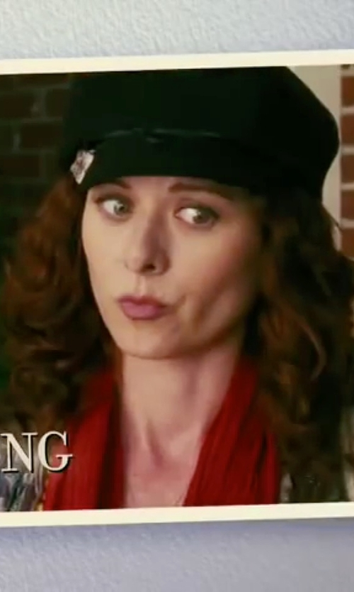Debra Messing with Genie By Eugenia Faux Leather-Trimmed Cap in The Women