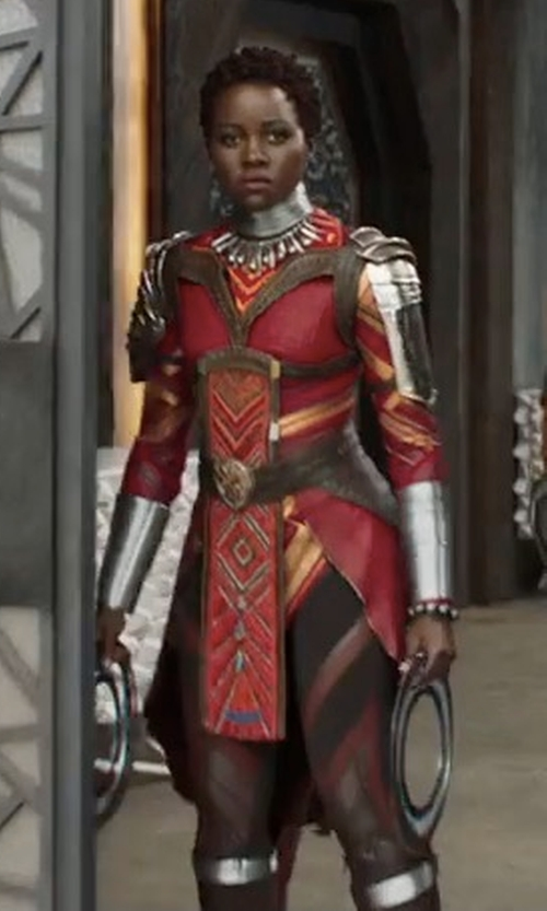 Lupita Nyong'o with Ruth E. Carter (Costume Designer) Custom Made Royal Guard Suit in Black Panther