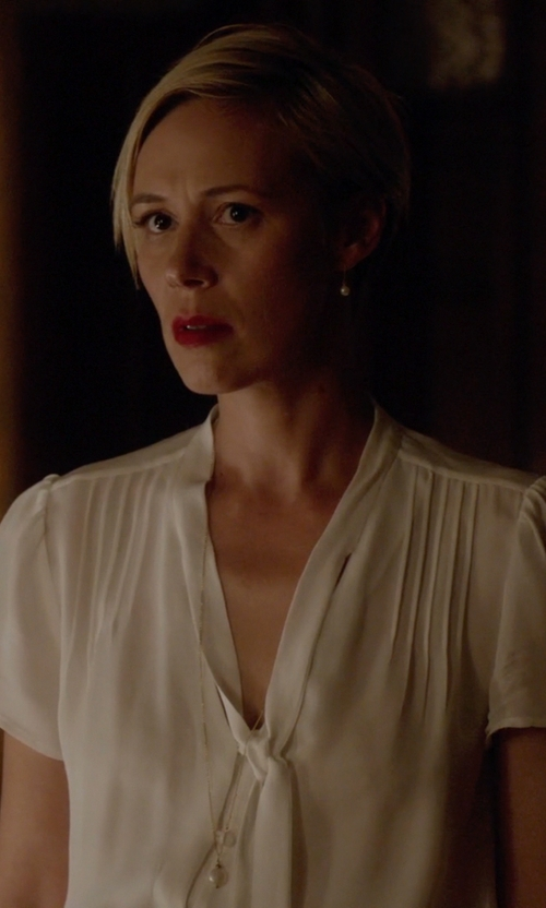 Liza Weil with Jil Sander Tie Blouse in How To Get Away With Murder