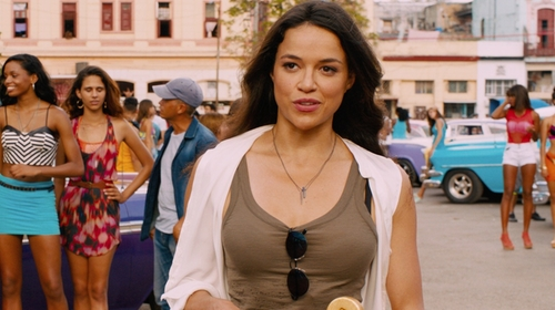 Michelle Rodriguez with All Saints Colette Strap Tank Top in The Fate of the Furious