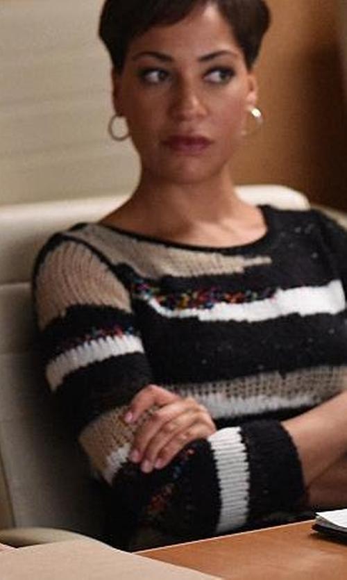 Cush Jumbo with Diane Von Furstenberg Slash Back Wrap Sweater in The Good Wife