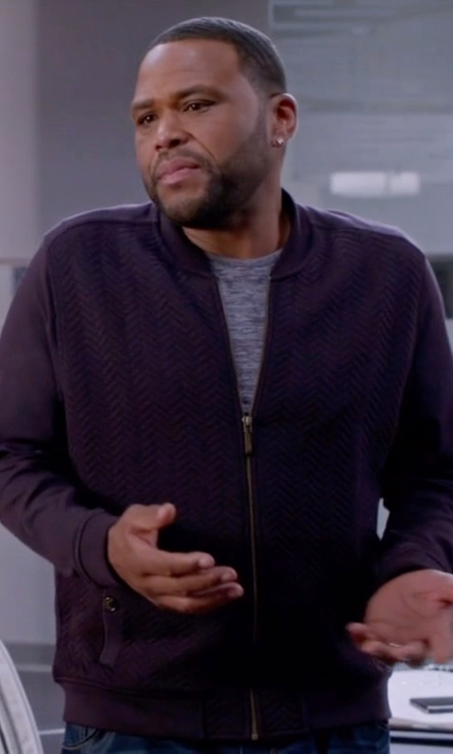 Anthony Anderson with Ted Baker Weevers Quilted Herringbone Bomber Jacket in Black-ish