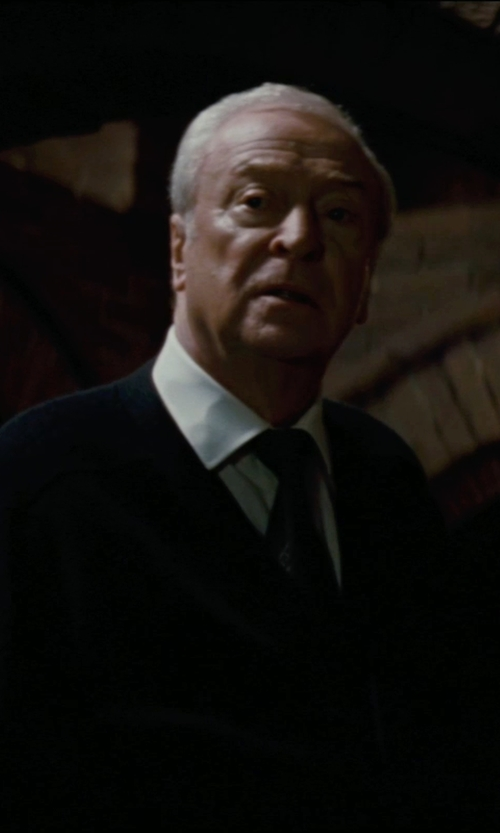 Michael Caine with Giorgio Armani Custom Made Stripe Tie (Alfred) in The Dark Knight Rises