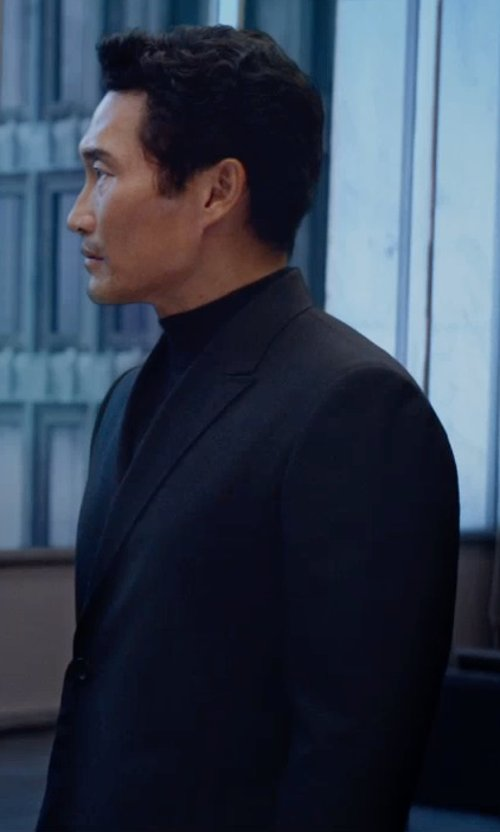Daniel Dae Kim with Calvin Klein Blazer Two Metal Button Stretch Wool Jacket in The Divergent Series: Insurgent