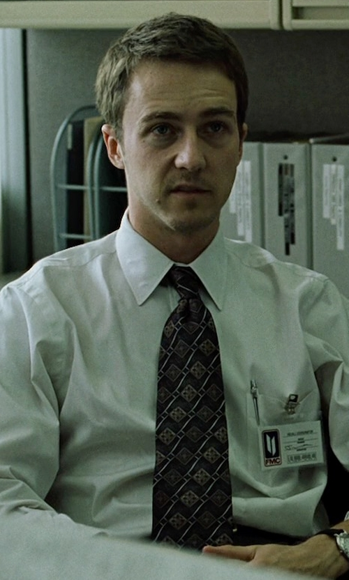 Edward Norton with Givenchy Bug Crest Woven Silk Narrow Tie in Fight Club