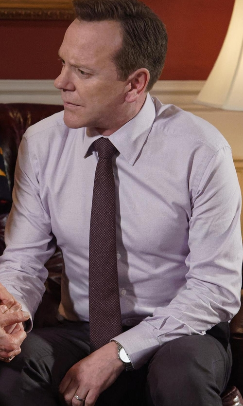 Kiefer Sutherland with Eton Contemporary-Fit Textured Woven Dress Shirt in Designated Survivor