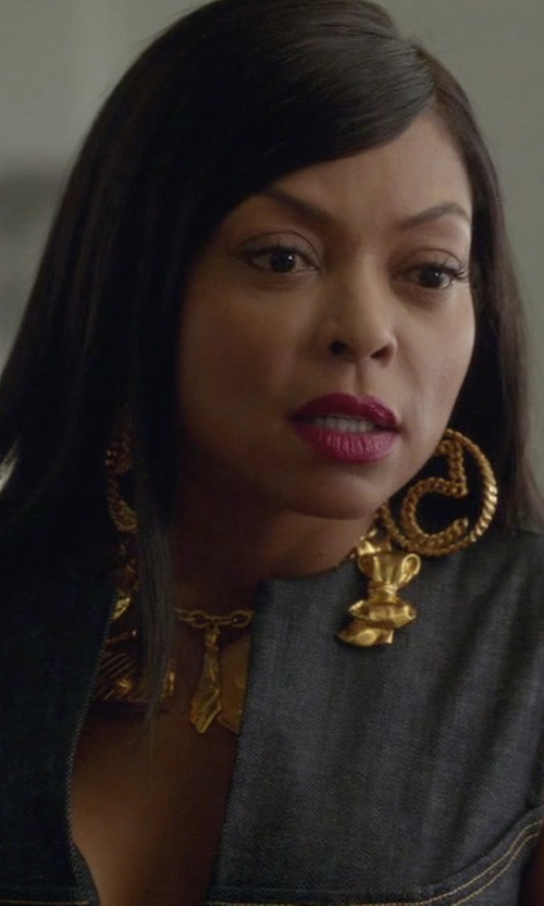 Taraji P. Henson with Chanel Gold Plated Charm Necklace in Empire