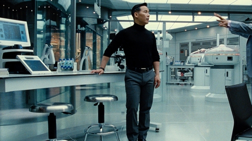 BD Wong with Alfani Light Grey Sharkskin Slim-Fit Pants in Jurassic World