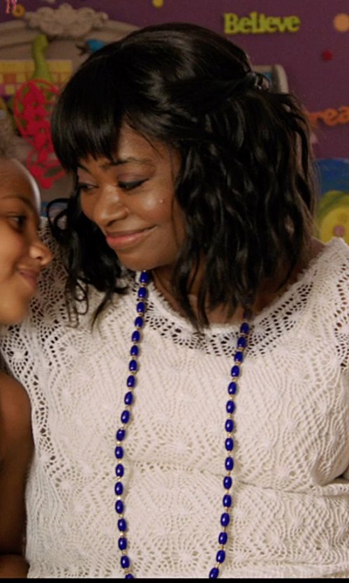 Octavia Spencer with Catherine Canino Beaded Quartzite Gold Tone Necklace in Black or White