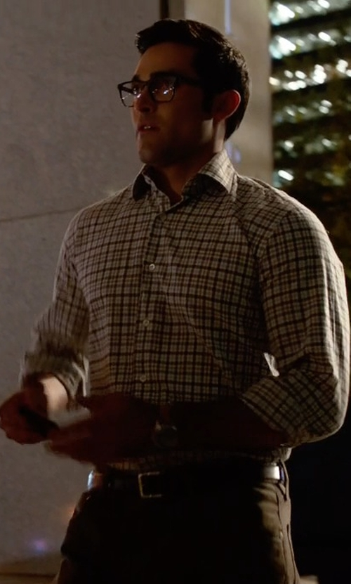 Tyler Hoechlin with Isaia Check Woven Dress Shirt in Supergirl