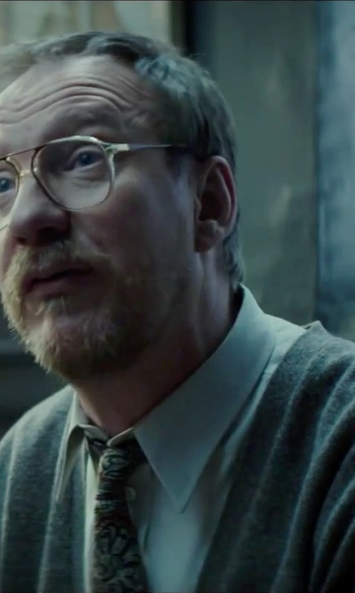 David Thewlis with Drumohr V-Neck Cardigan in Regression