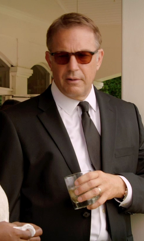 Kevin Costner with Ray-Ban Leather Wrapped Wayfarer Sunglasses in Black or White