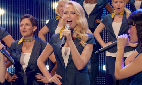 Anna Camp with New York and Company Short-Sleeve Denim Blazer in Pitch Perfect 2