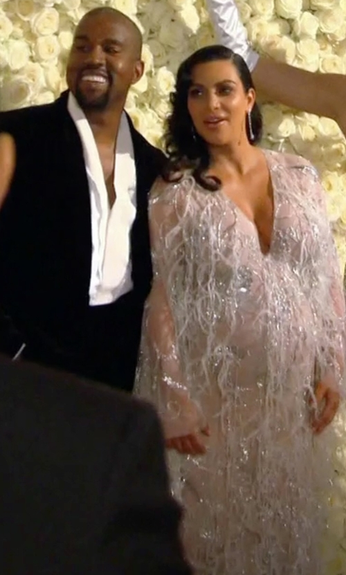 Kim Kardashian West with Marchesa Re-Embroidered Ostrich Feather Applique Gown in Keeping Up With The Kardashians