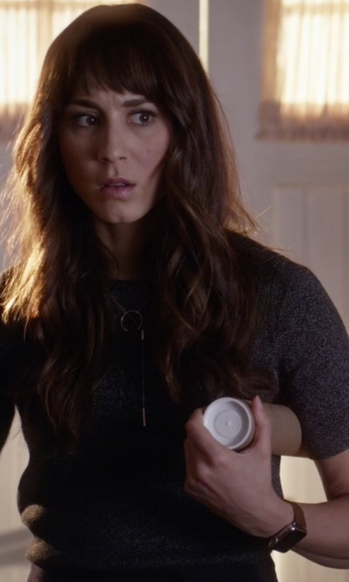 Troian Bellisario with Apple Stainless Steel Case with Saddle Brown Classic Buckle Watch in Pretty Little Liars