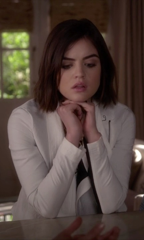 Lucy Hale with Rachel Roy Long-sleeve Colorblocked Cropped Jacket in Pretty Little Liars