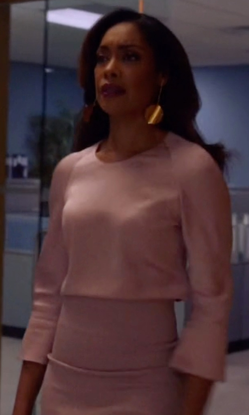 Gina Torres with Majestic Paris for Neiman Marcus Soft Touch Long-Sleeve Crewneck Tee in Suits