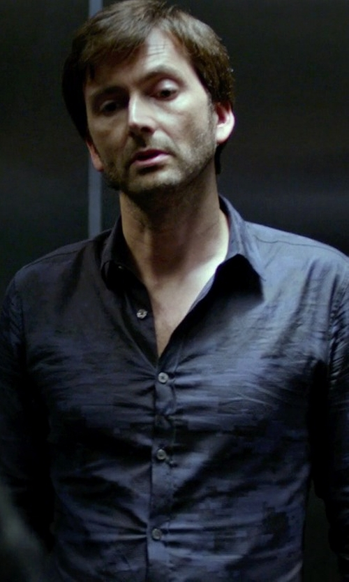 David Tennant with The Hill-Side Brushed Jacquard Camouflage Button Down Shirt in Jessica Jones