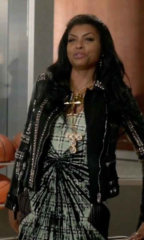 Taraji P. Henson with Hervé Léger Stretch Jacquard-Knit Mini Dress in Empire