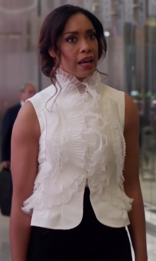 Gina Torres with Oscar De La Renta Ivory Organza & Lace Ruffle Detail Silk Faille Vest in Suits