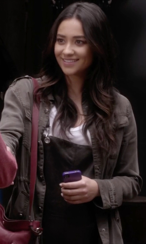 Shay Mitchell with Press Two-Pocket Stretch Cotton Military Jacket in Pretty Little Liars