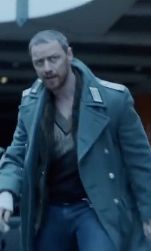 James McAvoy with Gucci Double-Breasted Wool And Cashmere-Blend Overcoat in Atomic Blonde