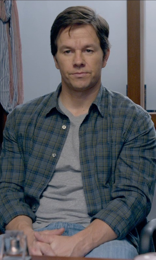 Mark Wahlberg with Mason's Brushed Cotton Multi-Plaid Shirt in Ted 2