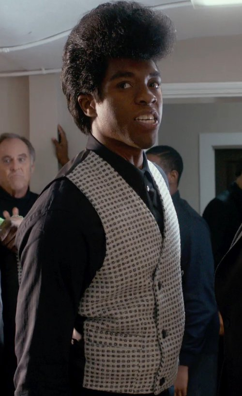 Chadwick Boseman with Usimprints Promotional Diamonds & Dots Brocade in Get On Up