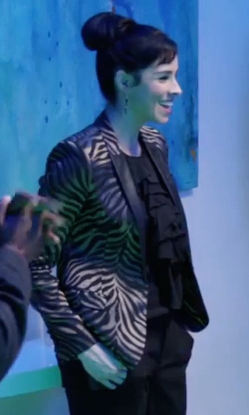 Sarah Silverman with The Kooples Tiger Print Blazer in Popstar: Never Stop Never Stopping