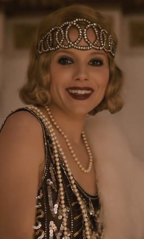 Sienna Miller with Unique Vintage Deco Beaded Marceline Fringe Flapper Dress in Live By Night