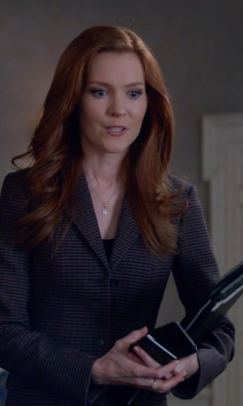 Darby Stanchfield with Tagliatore  Check Blazer in Scandal