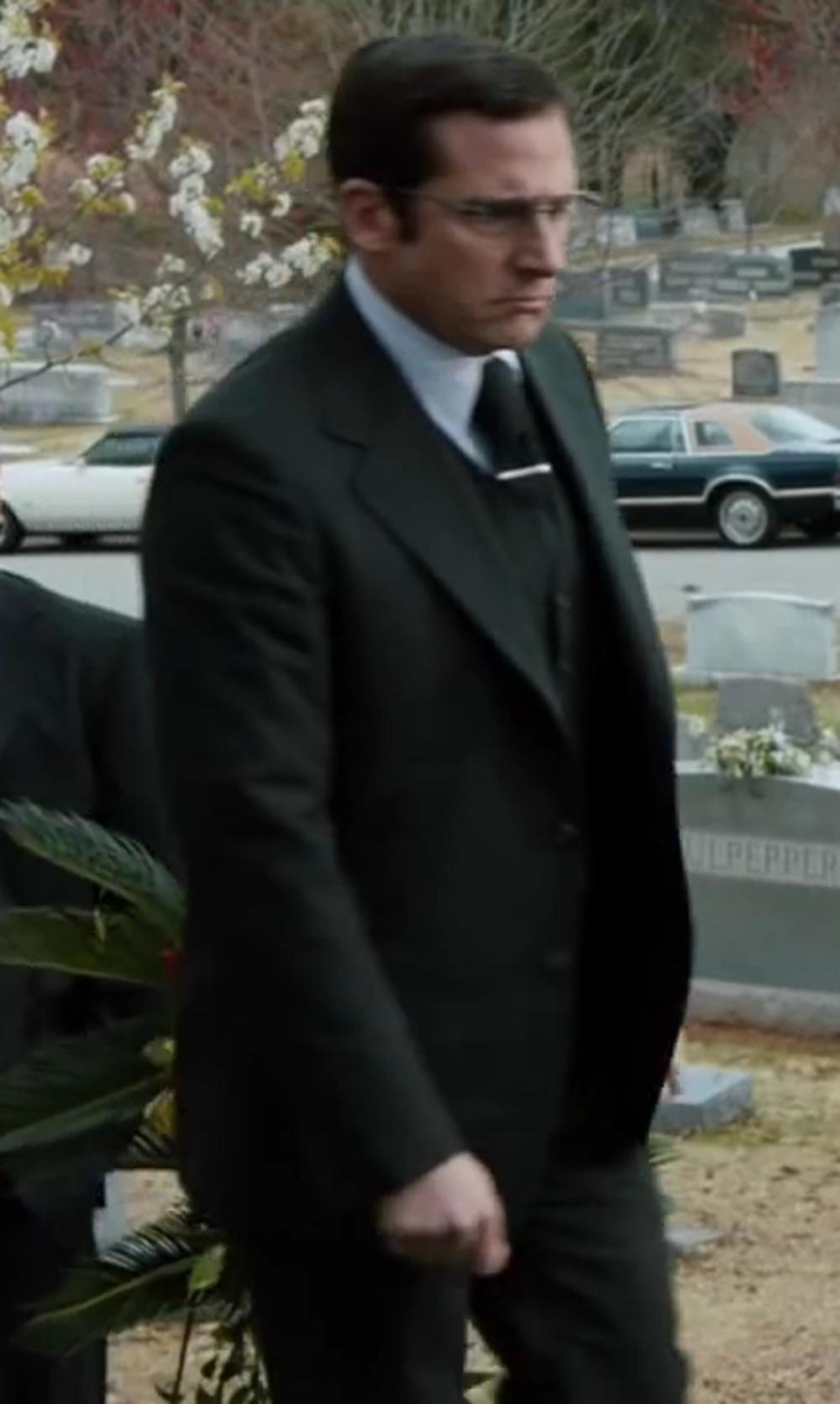 Steve Carell with Jones New York Charcoal Vested Modern Fit Suit in Anchorman 2: The Legend Continues