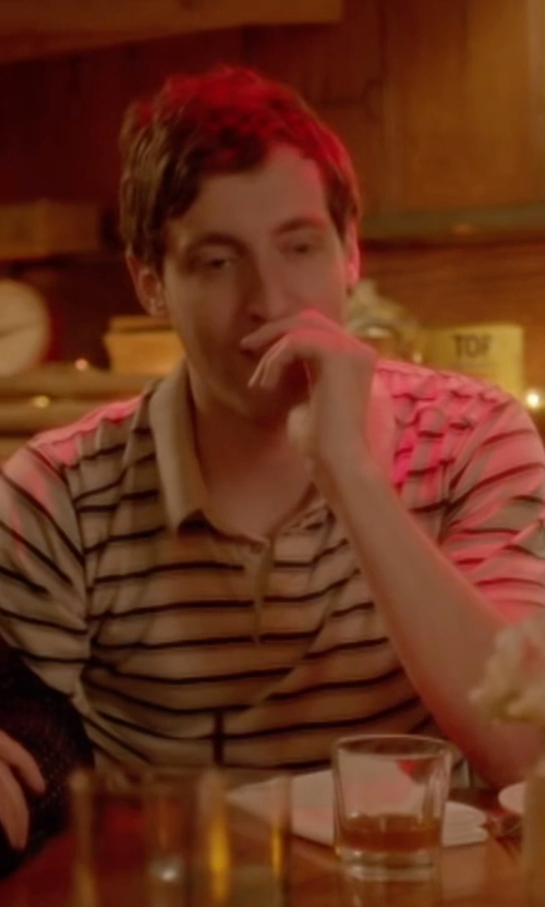 Thomas Middleditch with Peter Millar Performance Striped Short-Sleeve Polo Shirt in Joshy