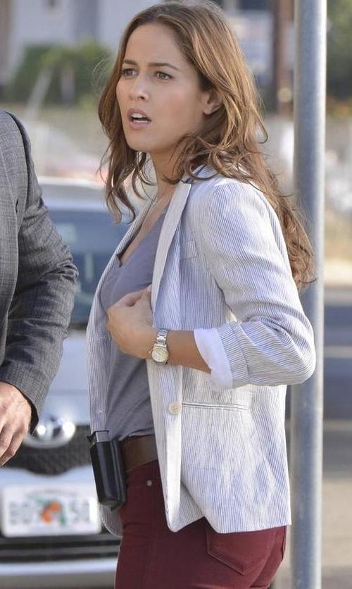 Jaina Lee Ortiz with ATM Striped Linen-Blend Schoolboy Blazer in Rosewood