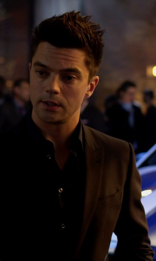 Dominic Cooper with Ralph Lauren Black Label Anthony Wool Gabardine Suit in Need for Speed