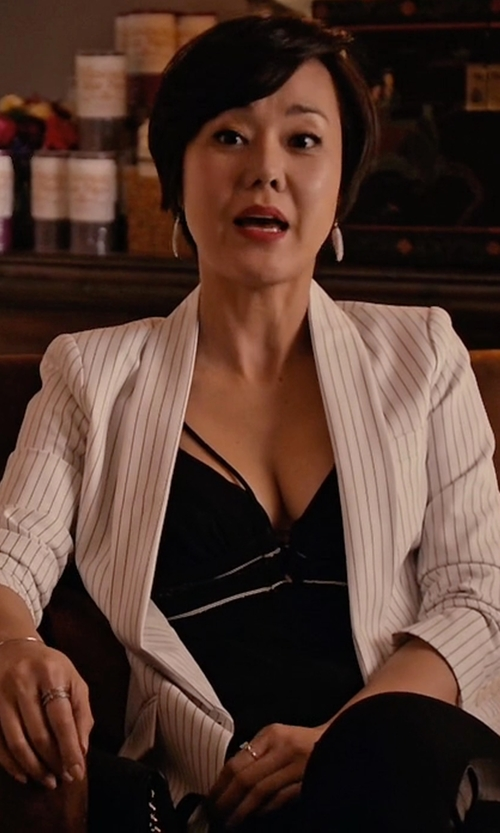 Yunjin Kim with Akris Punto One-Button Striped Jacket in Mistresses