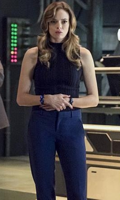Danielle Panabaker with 3.1 Phillip Lim Cropped Straight-Leg Trousers in The Flash