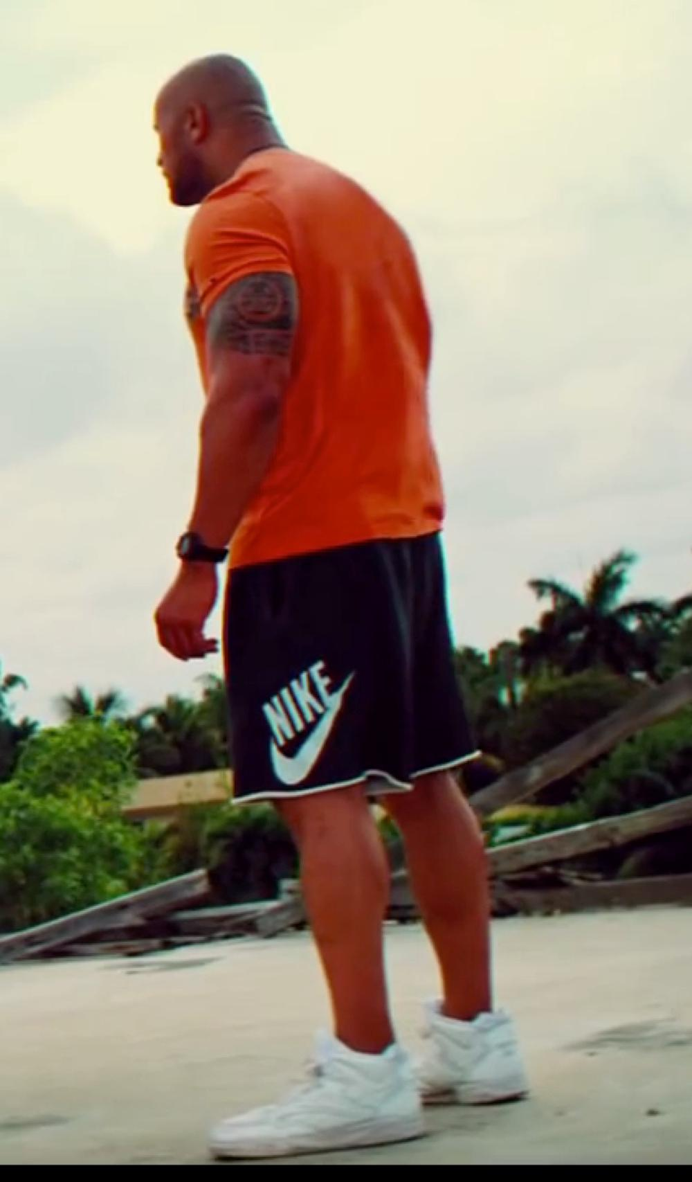 Dwayne Johnson with Nike Men's Air Jordan 1 Phat Basketball Shoe in Pain & Gain